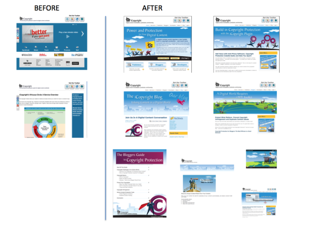 Client website and inbound marketing materials before and after